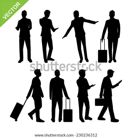 Business man activity silhouettes vector - stock vector