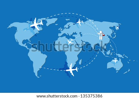 business man and airplane line on earth map icon vector - stock vector