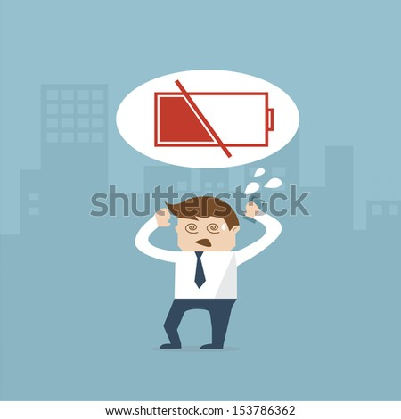 business man and battery empty in city vector format - stock vector