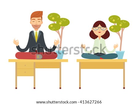 Business man and business woman meditating in lotus pose sitting on the office table under the money tree. Cartoon characters. vector illustration flat design. - stock vector
