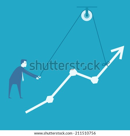 Business man and engineer try to build graph   - stock vector