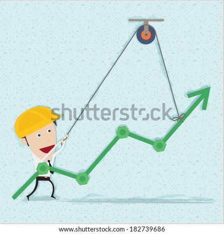 Business man and engineer try to build graph. You can remove background and shadow. All parts are vector and editable.   - stock vector