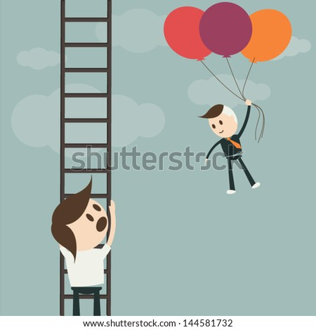 Business man and flying on balloons to success , vector format - stock vector