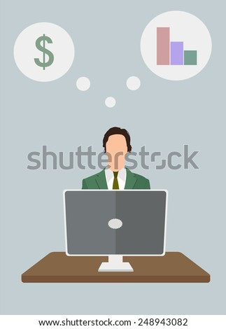Business man and laptop. Working at a computer - finance, money and projects. Vector illustration. - stock vector