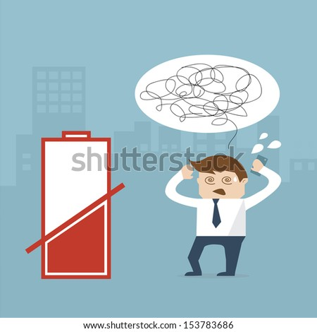 business man and mobile empty battery  vector format - stock vector