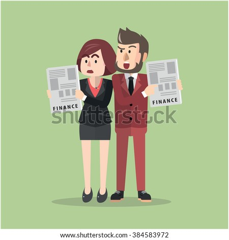Business man and woman bad finance - stock vector