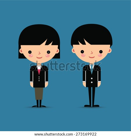 Business man and woman characters isolated on blue background - stock vector