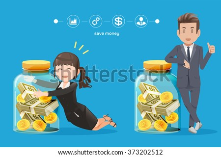 business man and woman Trying to collect money.The savings money from business.Interest on bank deposits.Investment routine.Money from a hobby.The Small Business Investment.Graphic and vector EPS 10. - stock vector