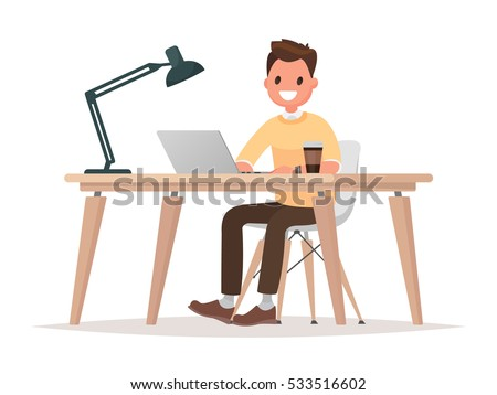 Business man at his desk is  working on the laptop computer. Vector illustration in  flat style