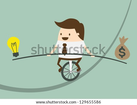 Business man balancing on the rope with ideas and money - stock vector