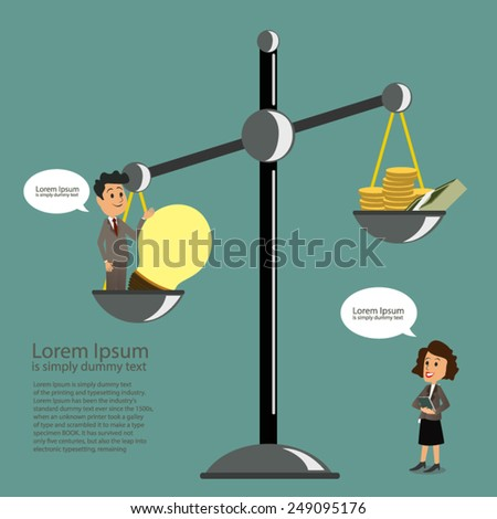 Business man balancing with ideas and money - stock vector