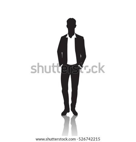 Business Man Black Silhouette Standing Full Stock Vector ...