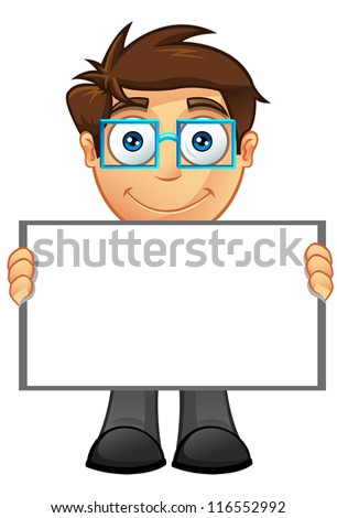 Business Man - Blank Sign 4 - stock vector