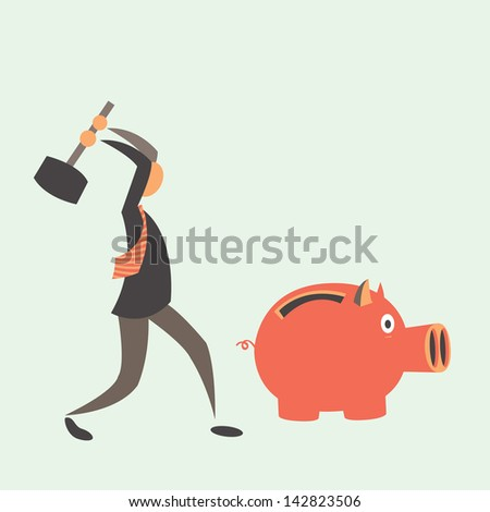 Business man breaking piggy bank with coins. - stock vector