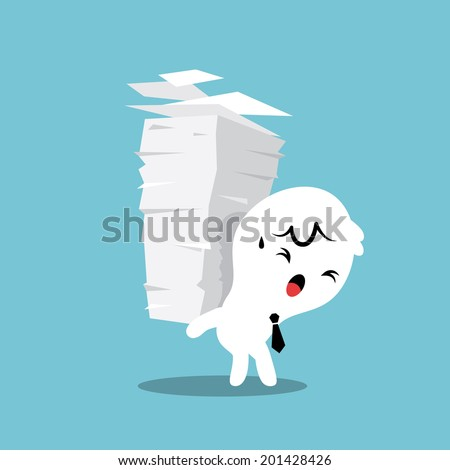 Business man carrying a stack of paper with work load concept - stock vector