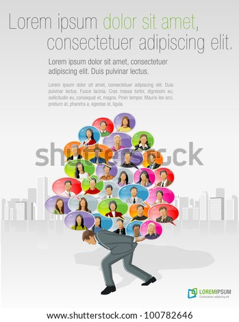 Business man carrying speech balloon icons with faces inside - stock vector