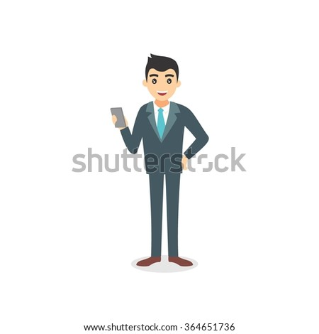 Business man cartoon character/ confident young professional standing. vector illustration - stock vector