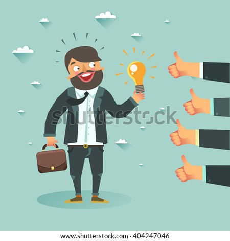 Business man cartoon character have an idea for startup and holding Eureka lamp. Selling startup ideas. Colorful vector illustration in flat style - stock vector