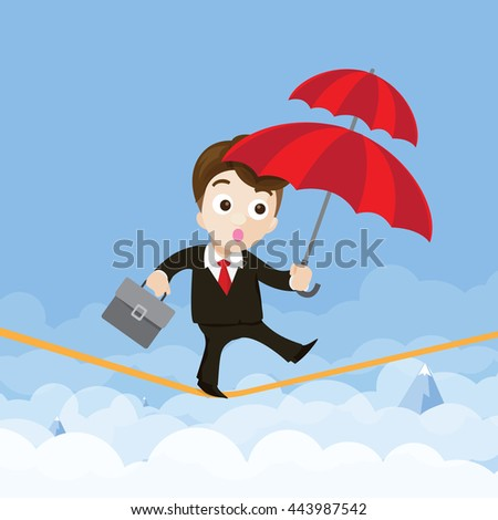 Business man cartoon holding umbrella and walking on the robe vector illustration eps10