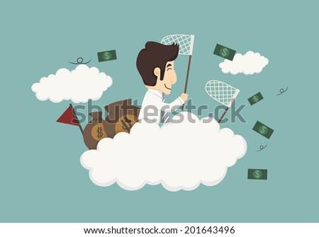 Business man catching money , eps10 vector format - stock vector