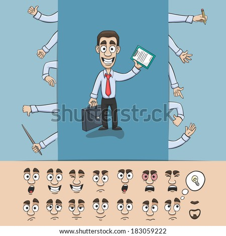 Business man character construction pack hand gestures and facial emotions design elements isolated vector illustration - stock vector