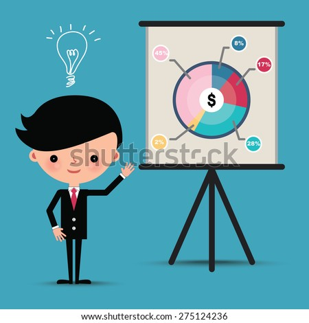 Business man characters presentation pie graph with idea bulb. - stock vector