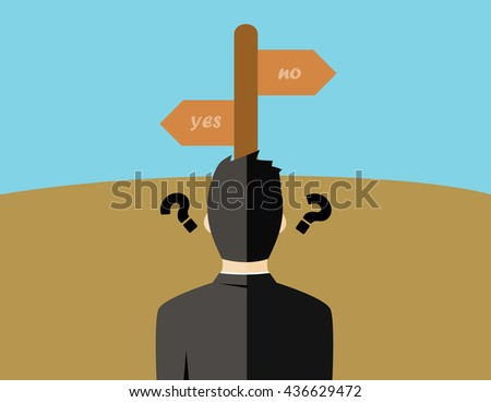 Business man choice concept vector illustration - stock vector