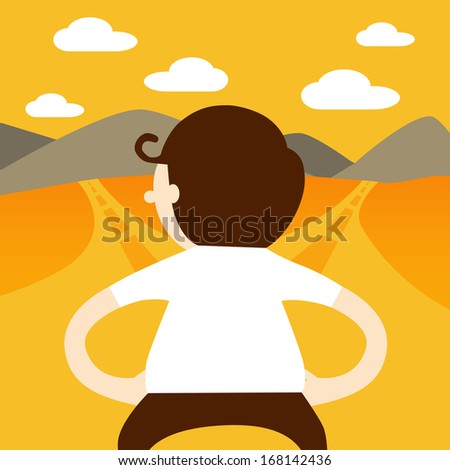 Business man choose the way to go - stock vector