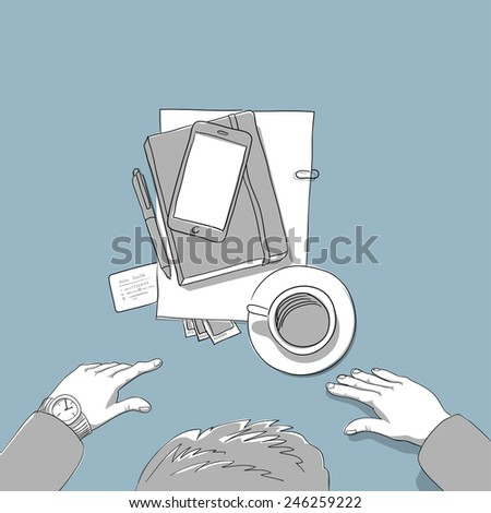 Business man coffe break, top view  - hand drawn computer illustration - stock vector