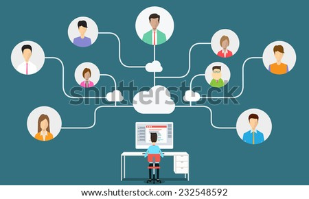business man communication connection to business  - stock vector