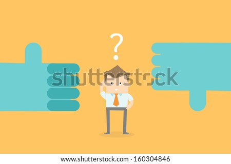 business man confuse make decision career options - stock vector