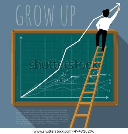 Business man creating growing stock chart. Vector template.