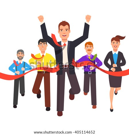 Business man crossing finish line and tearing red ribbon finishing first in a market race. Entrepreneur businessman leader. Flat style vector illustration. - stock vector
