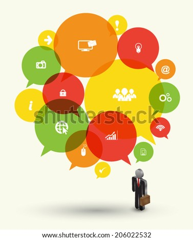 Business man 3D icons with speech bubble circle. Can use for business concept and banner, multi idea, think for business success complete.