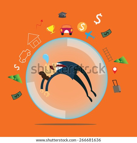 Business man dreaming about home, work, travel and rich. - stock vector