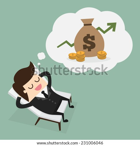 Business man dreaming about money - stock vector