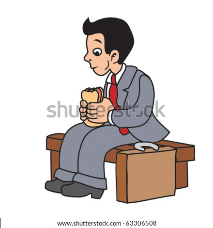 Business man eats sandwich during pause - stock vector