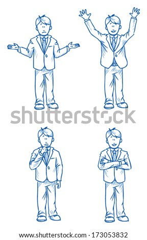 Business man employee illustration in different emotions, questioning, happy, thoughtful and poses, hand drawn sketch - part 2 - stock vector