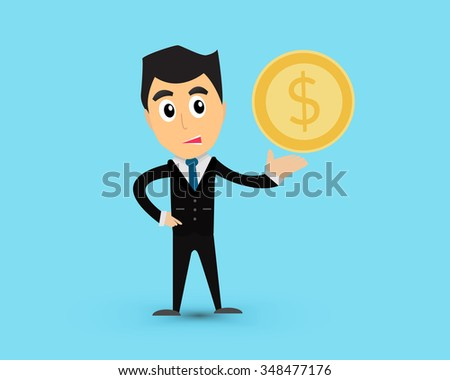 Business man give money on blue background cartoon vector.