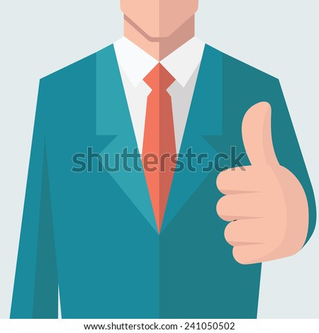 Business man give thumb up sign. There is full head of character in clipping mask layer. Flat design.   - stock vector