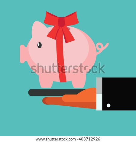 Business man giving piggy bank as a present. Saving and investing money concept. Future financial planning concept. Modern vector design flat style - stock vector