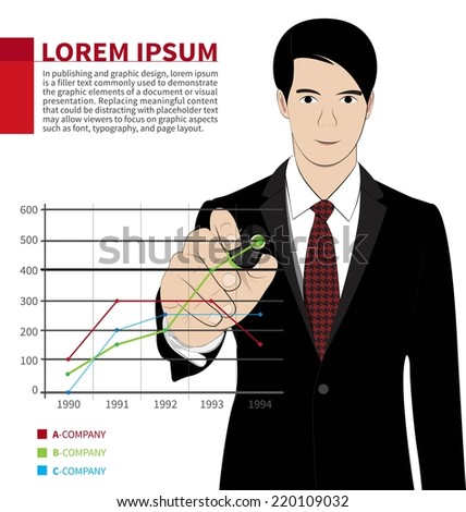 Business man hand drawing a graph - stock vector