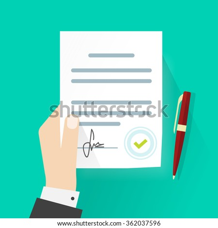 Business man hand holding contract agreement vector illustration, signed treaty paper with pen, legal document symbol with stamp, documentation flat sign modern design isolated on green background - stock vector