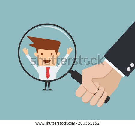 business man hand holding magnifying glass for search a man. Recruitment or selection concept.  - stock vector