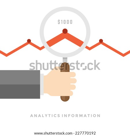 Business man hand holding magnifying glass with growth chart cloud analytics information flat design vector illustration - stock vector