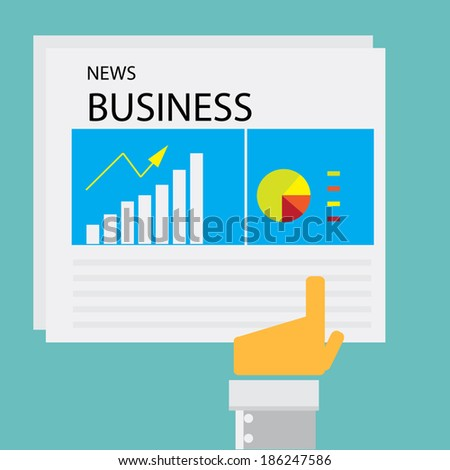 Business man hand pointing on newspaper showing graph,marketing share - stock vector