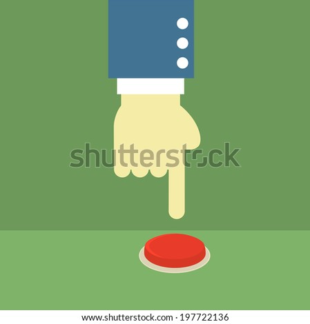 business man hand pushing red button,illustration,vector - stock vector
