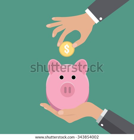 Business man hand put gold coin in pink piggy bank on green background vector illustration in flat design. infographics web design elements - stock vector