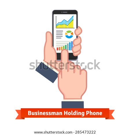 Business man hands holding phone and scrolling through live online sales statistics. Flat vector icon. - stock vector