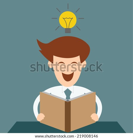 Business man having a great idea while reading a book - stock vector